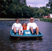 Family having fun on lake
