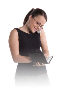Picture of woman on the phone writing in her personal phone directory.