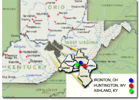 Map of the Huntington-Ashland-Ironton Metro Area