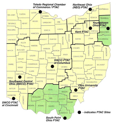Figure 1: Map Showing Ohio PTAC Locations