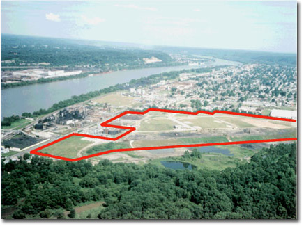 Photo from aerial view of South Ironton Industrial Park, outlined in red